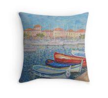 Boat Near Sea Town Throw Pillow