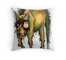 robin the zombie unicorn Throw Pillow