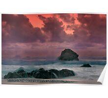 Big Sur Sunset Storm Poster