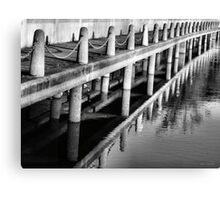Pier Patterns Reflections in Black and White Canvas Print
