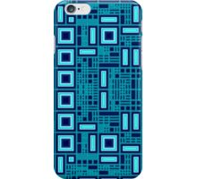 Blue digital geometric abstraction iPhone Case/Skin