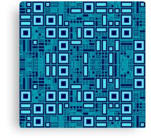 Blue digital geometric abstraction Canvas Print