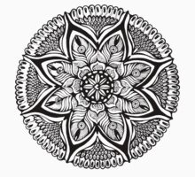 Black and White MANDALA. Hand draw  ink and pen on textured paper Kids Tee