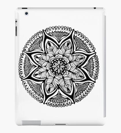 Black and White MANDALA. Hand draw  ink and pen on textured paper iPad Case/Skin