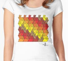 Parallelogram GeoBunnies Warm Tone Pattern Women's Fitted Scoop T-Shirt