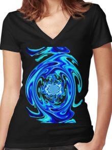 Blue Liquid-Tee Women's Fitted V-Neck T-Shirt