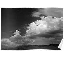 Cloudscape over the Sandia Mountains, in Monochrome Poster