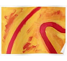 Red and Yellow - Acrylic abstract painting  Poster