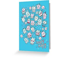 Happy Party Cats Greeting Card