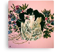 woman and prehistorical plant Canvas Print