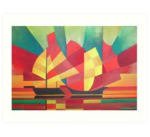 Cubist Abstract of Junk Sails and Ocean Skies Art Print