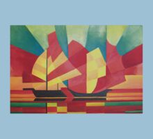 Cubist Abstract of Junk Sails and Ocean Skies Baby Tee