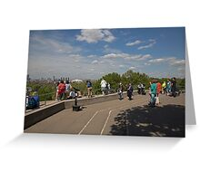 People taking in the view over london from Greenwich Park Greeting Card