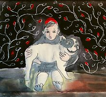 girl with dog by donnamalone