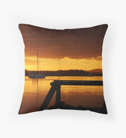 Boat Sunset Serenity Throw Pillow