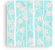 Blossoms on mint Canvas Print