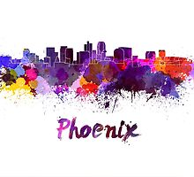 Phoenix skyline in watercolor by paulrommer