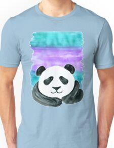 Lazy Panda on Mint & Violet Unisex T-Shirt