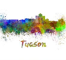 Tucson skyline in watercolor by paulrommer