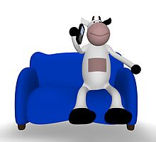 cow with phone on the sofa by bmg07