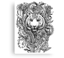 Tiger Tangle in Black and White Canvas Print