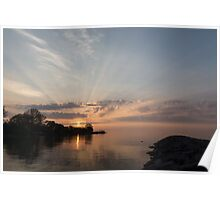 Heavenly Sunrays - Pink Sunshine Through the Clouds Poster