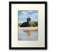 castle and beach with beautiful reflection of the clouds Framed Print