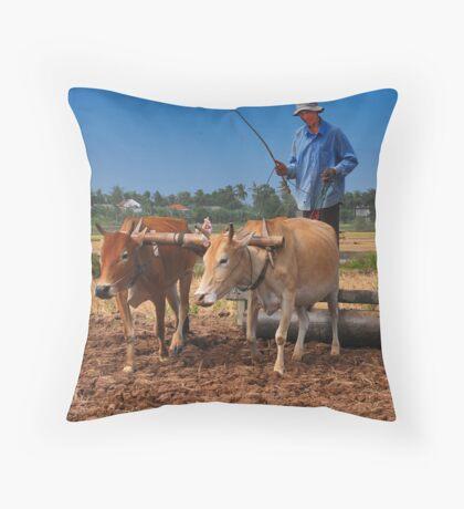 Cambodian Farmer Throw Pillow