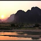 Sunset over Van Vieng by Shaun Whiteman