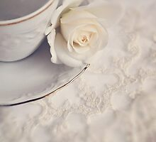 Cream Rose, Lace, and China Cup. by Lyn  Randle