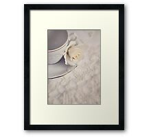 Cream Rose, Lace, and China Cup. Framed Print