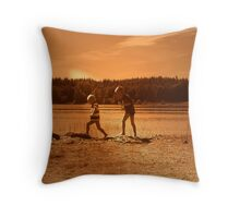 Kids, Playing on the Beach Throw Pillow