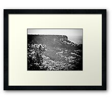 measuring the tree line b/w Framed Print