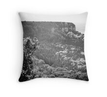 measuring the tree line b/w Throw Pillow