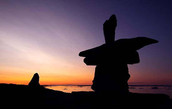 Arctic 'Inukshuk' Sunset by Gina Ruttle  (Whalegeek)