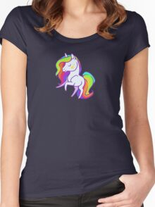 Cute chibi rainbow mane unicorn Women's Fitted Scoop T-Shirt