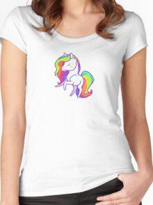 Cute chibi rainbow mane unicorn Women's Fitted Scoop T-Shirt