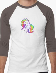 Cute chibi rainbow mane unicorn Men's Baseball ¾ T-Shirt