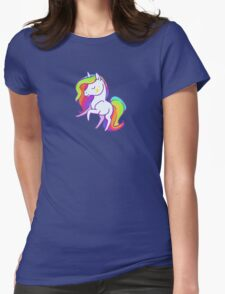 Cute chibi rainbow mane unicorn Womens Fitted T-Shirt