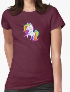 Cute chibi rainbow mane unicorn Womens Fitted T-Shirt