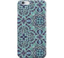 Chalkboard Floral Pattern in Teal & Navy iPhone Case/Skin