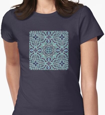 Chalkboard Floral Pattern in Teal & Navy Womens Fitted T-Shirt