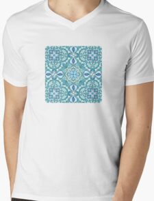 Colored Crayon Floral Pattern in Teal & White Mens V-Neck T-Shirt