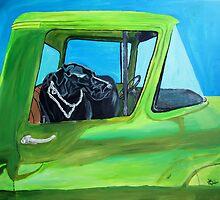 Black Lab in Old Pick-Up by John Windsor