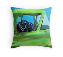 Black Lab in Old Pick-Up Throw Pillow