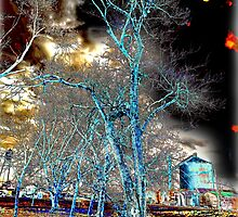 Teal Tree and Silo by Warren Paul Harris