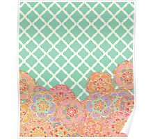 Floral Doodle on Mint Moroccan Lattice Poster