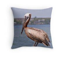 Pelican on Boat Lift Throw Pillow