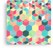 Yummy Summer Colour Honeycomb Pattern Canvas Print