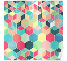 Yummy Summer Colour Honeycomb Pattern Poster